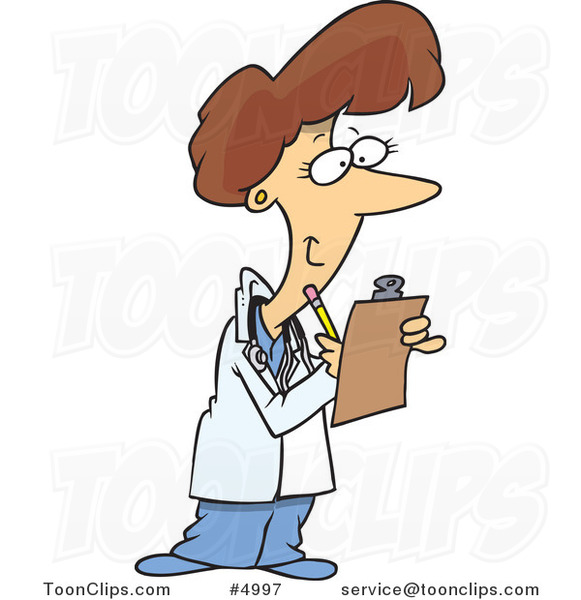 Cartoon Female Doctor Taking Notes