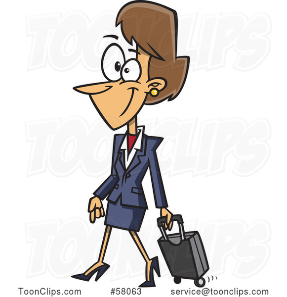 Cartoon Female Flight Attendant Walking with a Rolling Suitcase