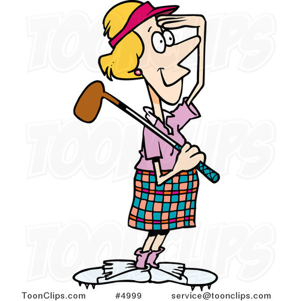 Cartoon Female Golfer Viewing