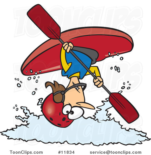 Cartoon Female Kayaker Doing a Flip over White Water