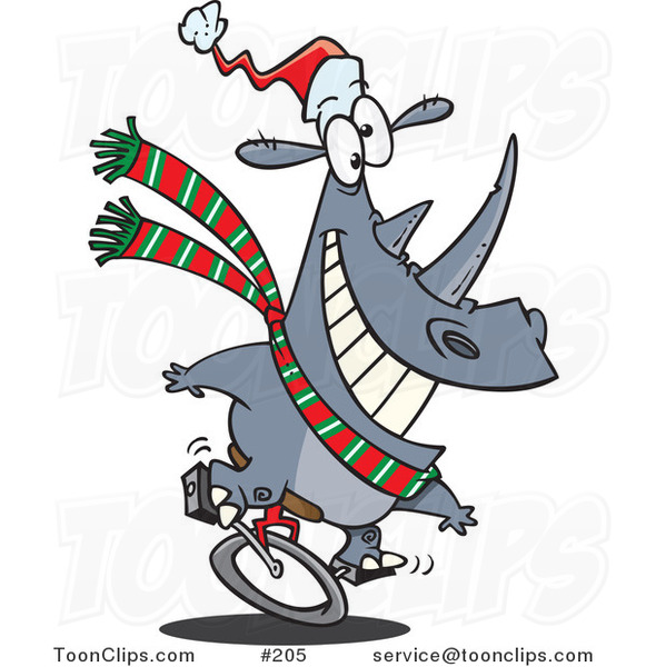 Cartoon Festive Christmas Rhino Riding a Unicycle and Wearing a Santa Hat and Green, White and Red Scarf
