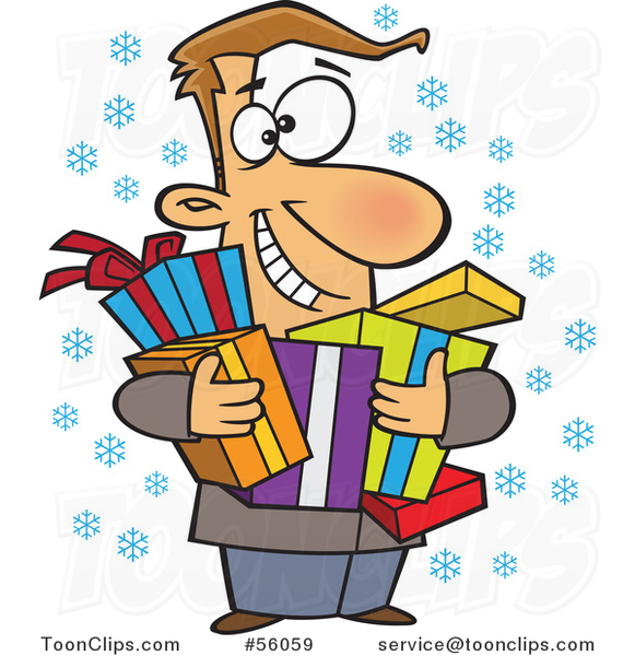 Cartoon Festive White Guy Holding Christmas Gifts