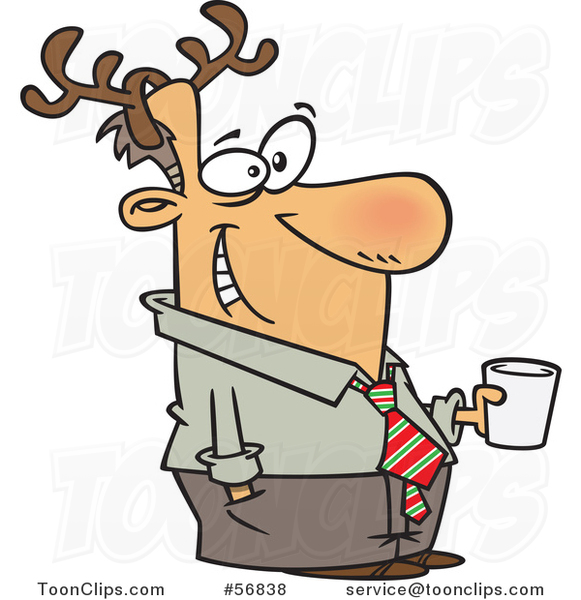 Cartoon Festive White Guy Wearing Antlers and Holding a Drink at a Christmas Party