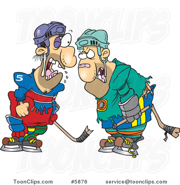 Cartoon Fighting Hockey Players
