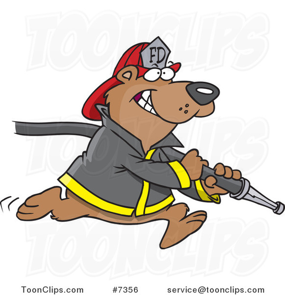 Cartoon Fire Fighter Bear Carrying a Hose