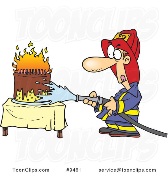Cartoon Firefighter Extinguishing a Birthday Cake