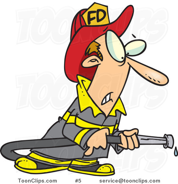 Cartoon Firefighter in Uniform, Holding a Hose