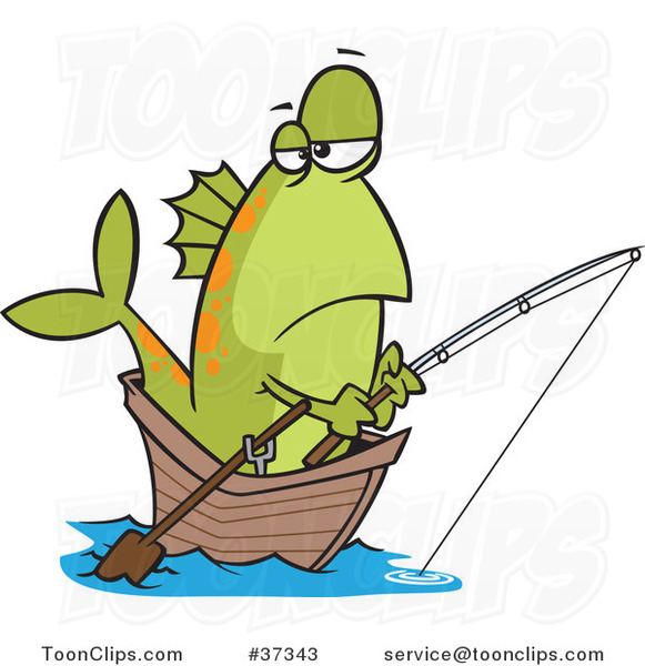 Cartoon Fish Fishing from a Boat