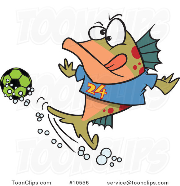Cartoon Fish Playing Soccer