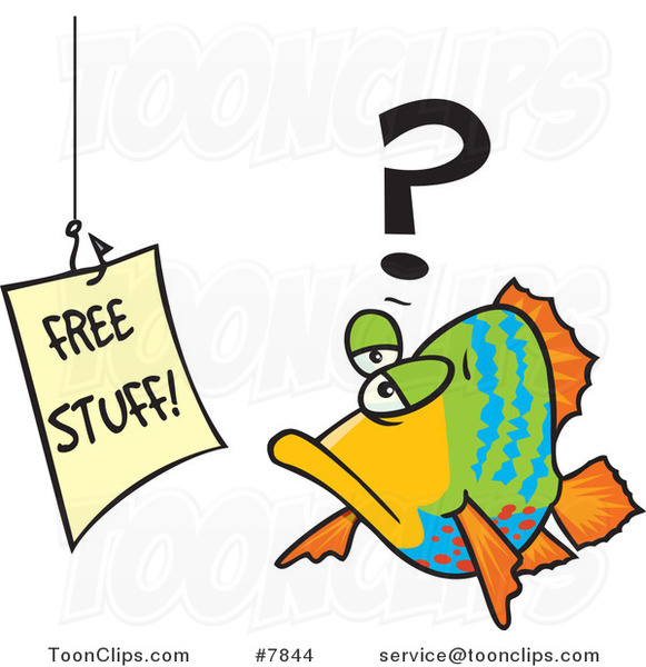 Cartoon Fish Staring at a Free Stuff Sign