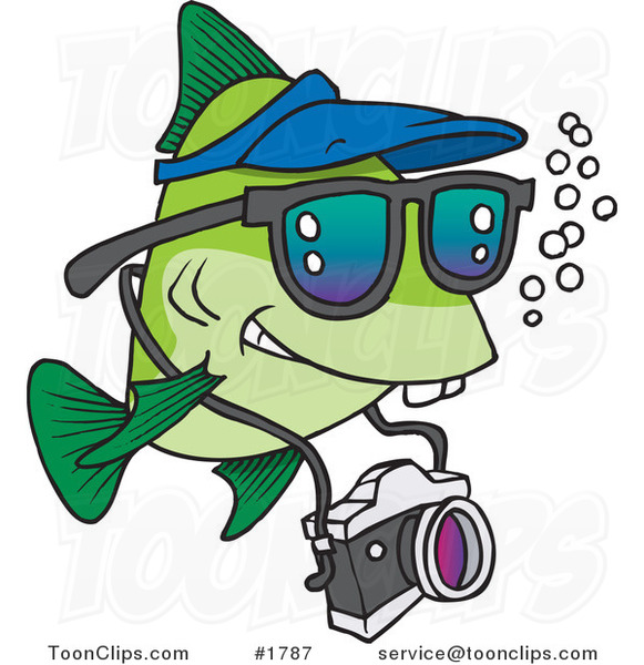 Cartoon Fish Tourist Swimming with a Camera