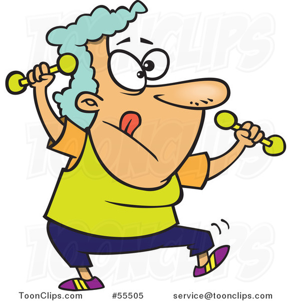 Cartoon Fit Granny Doing Zumba with Dumbbells