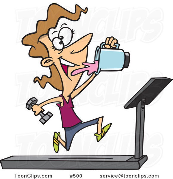Cartoon Fit Lady Running on a Treadmill and Drinking Juice from a Blender