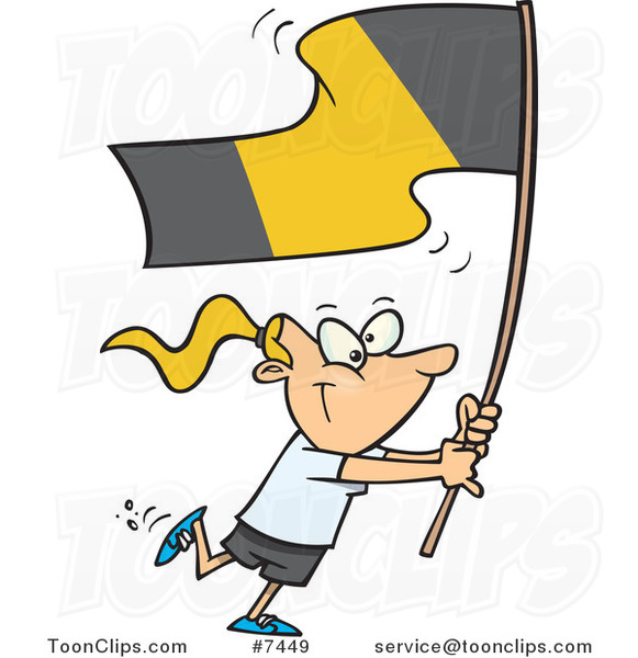 Cartoon Flag Bearer Girl Walking