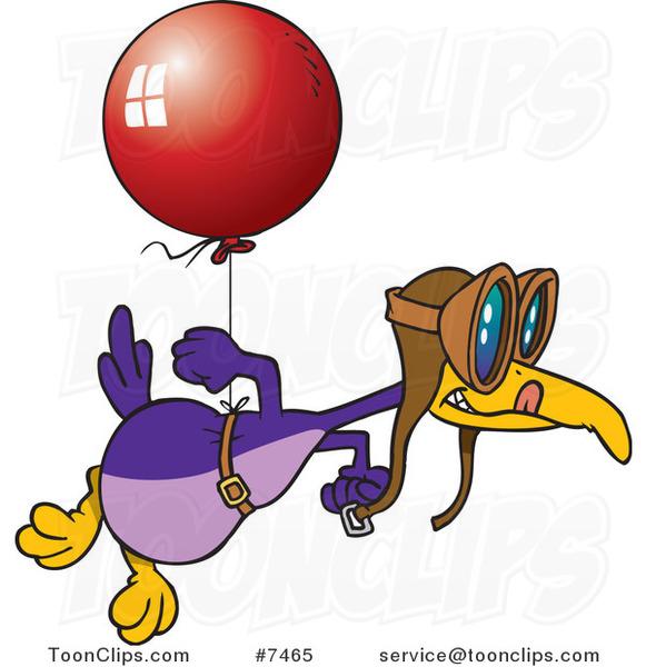 Cartoon Flightless Bird Tied To A Balloon 7465 By Ron Leishman