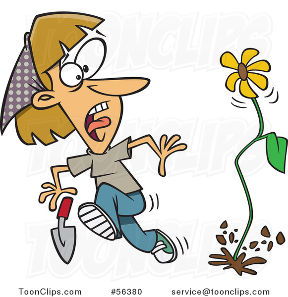 Cartoon Flower Springing up and Scaring a Dirty Blond White Lady in a Garden