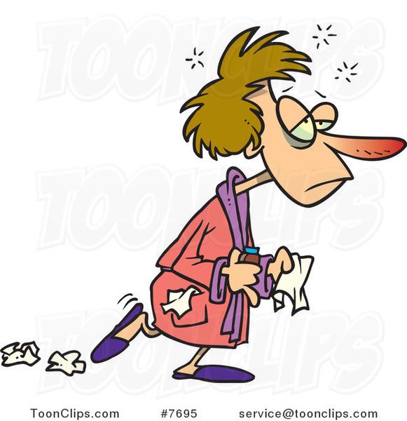 Cartoon Flu Sick Lady Dropping Tissues #7695 by Ron Leishman