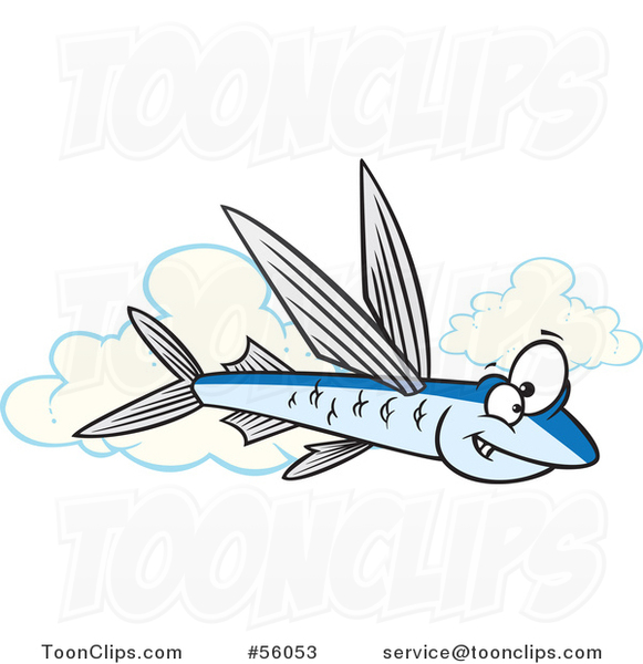 Cartoon Flying Fish over Clouds