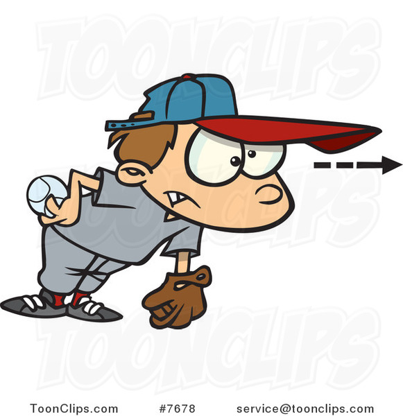 Cartoon Focused Boy Pitching a Baseball