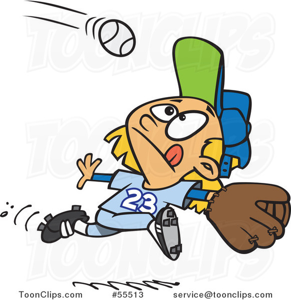 Cartoon Focused Girl Running to Catch a Baseball
