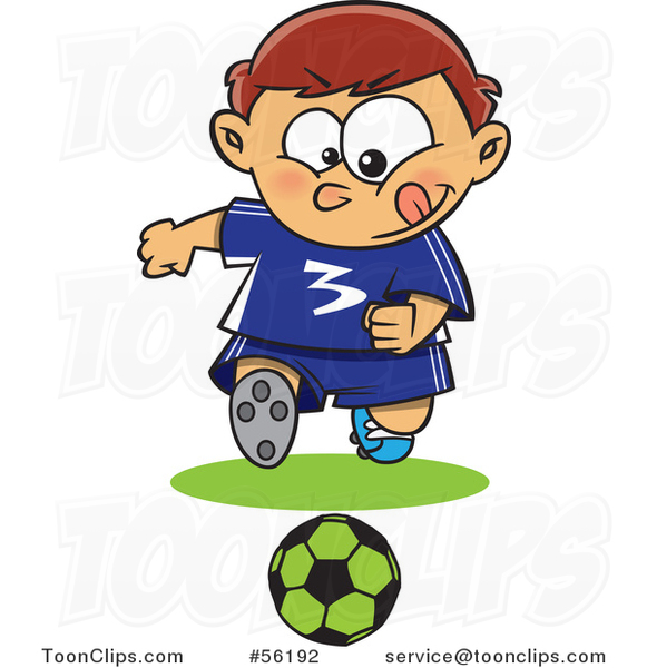 Cartoon Focused Sporty White Boy Playing Soccer