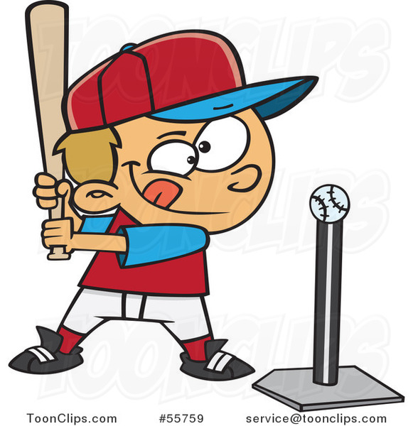 Cartoon Focused White Boy Batting a Tee Ball