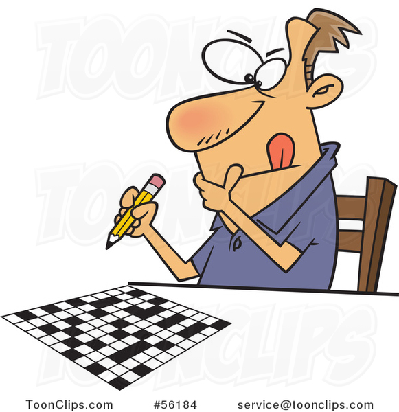 Cartoon Focused White Guy Working on a Crossword Puzzle