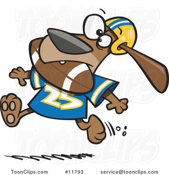 Cartoon Football Dog Character Running with the Ball in His Mouth