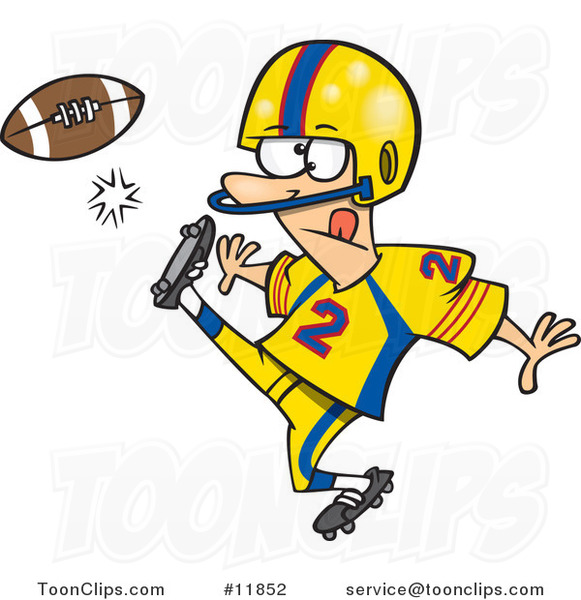 cartoon football player kicking 11852 by ron leishman