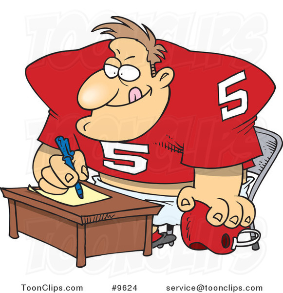 Cartoon Football Player Signing a Contract