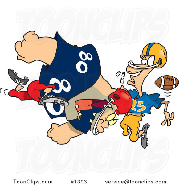 Cartoon Football Player Tackling Another and Knocking out His Teeth