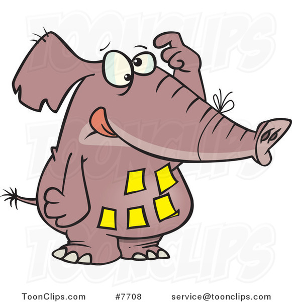 Cartoon Forgetful Elephant with Notes on His Belly