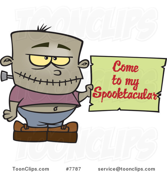 Cartoon Frankenstein Boy Holding a Come to My Spooktacular Party Sign