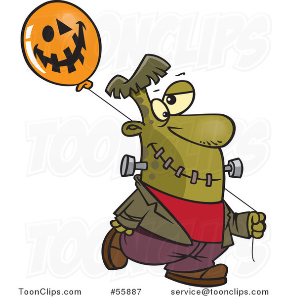 Cartoon Frankenstein with a Halloween Jackolantern Balloon