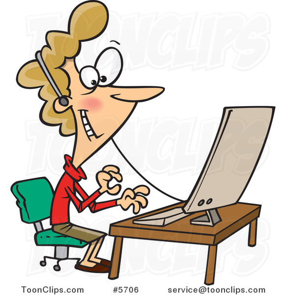 Cartoon Friendly Lady Wearing a Headset at Her Desk #5706 by Ron Leishman