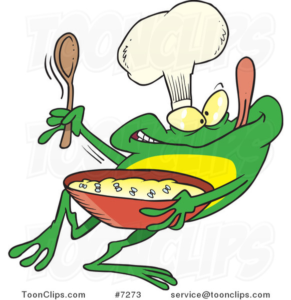 Cartoon Frog Chef Mixing Flies