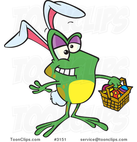 Cartoon Frog Wearing Bunny Ears and Carrying an Easter Basket