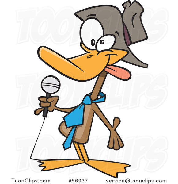 Cartoon Funny Duck Telling Jokes