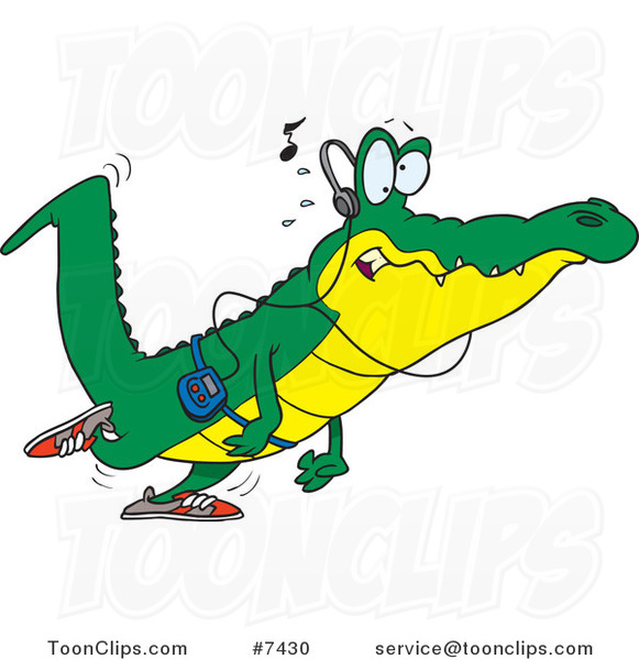 Cartoon Gator Walking and Listening to Music