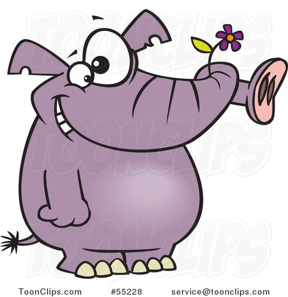 Cartoon Giddy Purple Elephant Holding a Flower in His Trunk