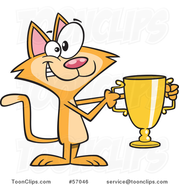 Cartoon Ginger Cat Champion Holding a Gold Trophy