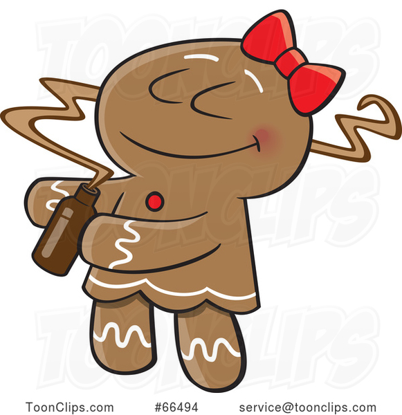 Cartoon Gingerbread Lady Smelling a Fragrance