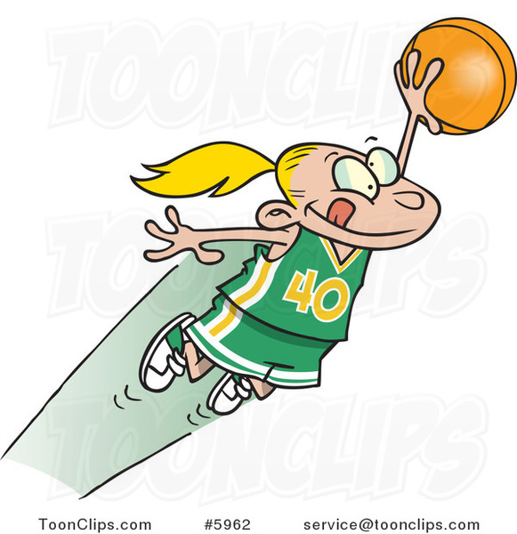 Cartoon Girl Leaping with a Basketball