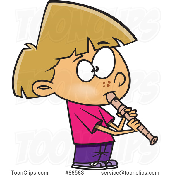 Cartoon Girl Playing a Recorder