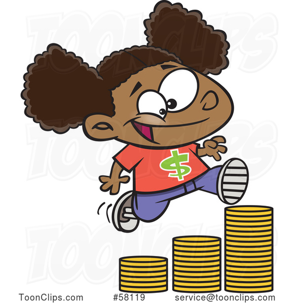 Cartoon Girl Running up a Stack of Coins