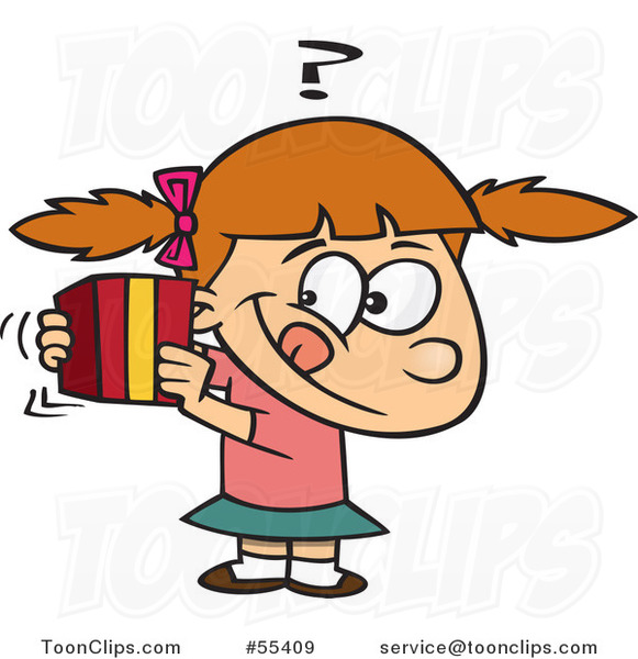 Cartoon Girl Trying to Guess a Gift