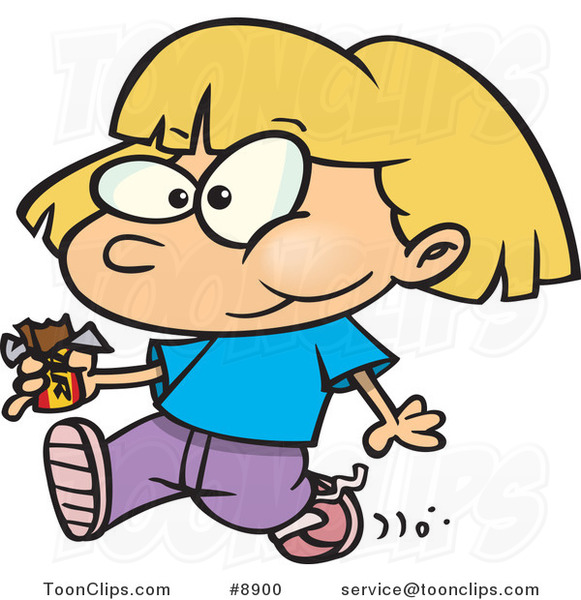 Cartoon Girl Walking and Eating a Candy Bar