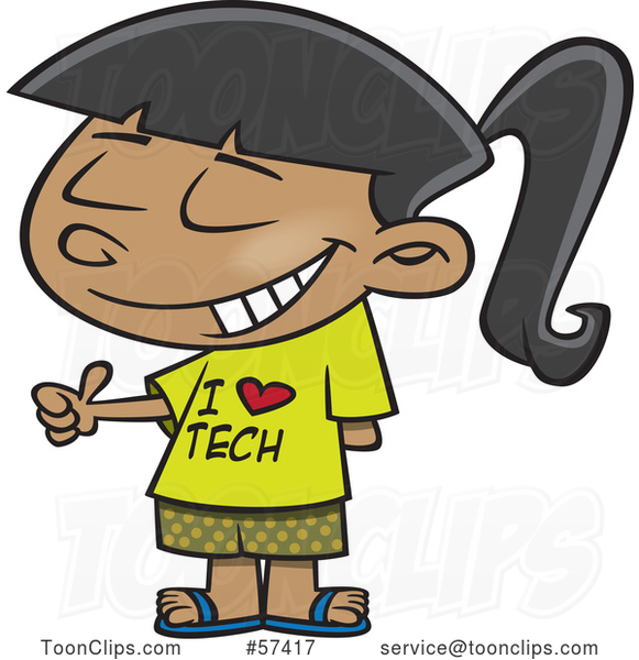 Cartoon Girl Wearing an I Love Tech Shirt and Giving a Thumb up