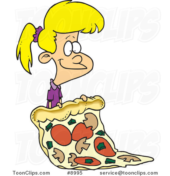 Cartoon Girl with a Giant Pizza Slice