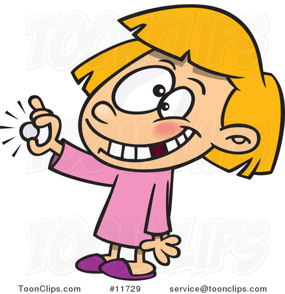 Cartoon Girl with a Missing Tooth Holding a Coin from the Tooth Fairy